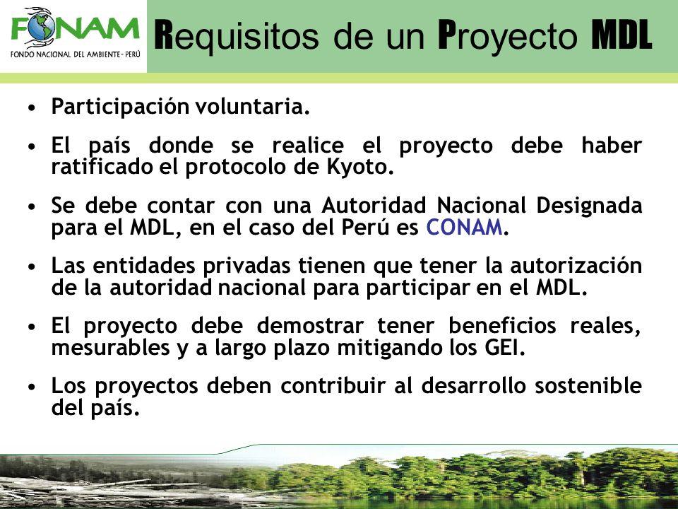 R equisitos de un P royecto MDL Participación voluntaria. El país donde se realice el proyecto debe haber ratificado el protocolo de Kyoto. Se debe co