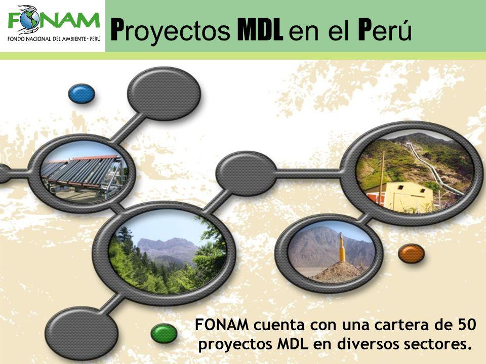P royectos MDL en el P erú FONAM cuenta con una cartera de 50 proyectos MDL en diversos sectores.
