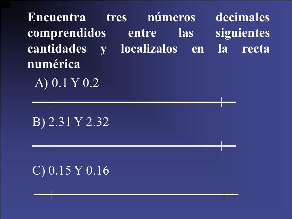 Encuentra tres números decimales comprendidos entre las siguientes cantidades y localizalos en la recta numérica A) 0.1 Y 0.2 B) 2.31 Y 2.32 C) 0.15 Y