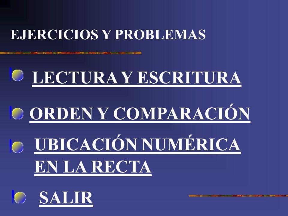 EJERCICIOS Y PROBLEMAS LECTURA Y ESCRITURA ORDEN Y COMPARACIÓN UBICACIÓN NUMÉRICA EN LA RECTA SALIR