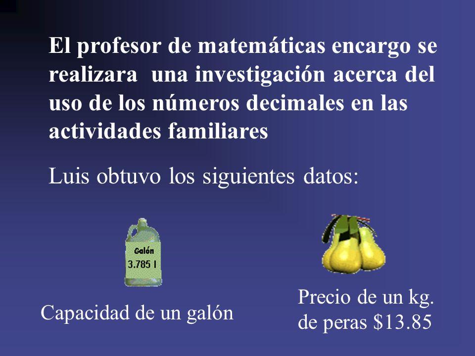 El profesor de matemáticas encargo se realizara una investigación acerca del uso de los números decimales en las actividades familiares Luis obtuvo lo