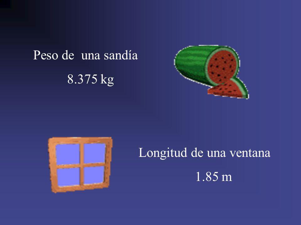 Peso de una sandía 8.375 kg Longitud de una ventana 1.85 m
