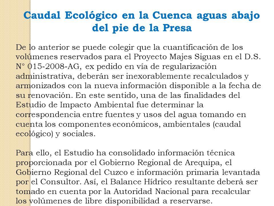 Caudal Ecológico en la Cuenca aguas abajo del pie de la Presa De lo anterior se puede colegir que la cuantificación de los volúmenes reservados para e