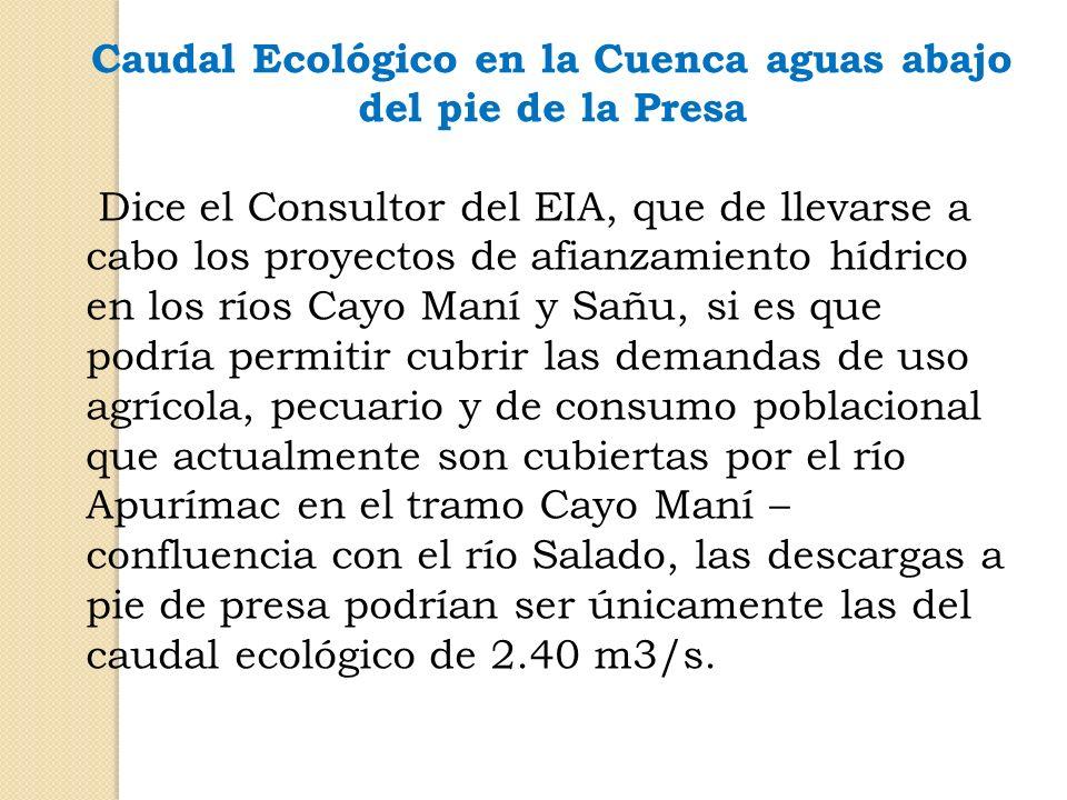 Caudal Ecológico en la Cuenca aguas abajo del pie de la Presa Dice el Consultor del EIA, que de llevarse a cabo los proyectos de afianzamiento hídrico