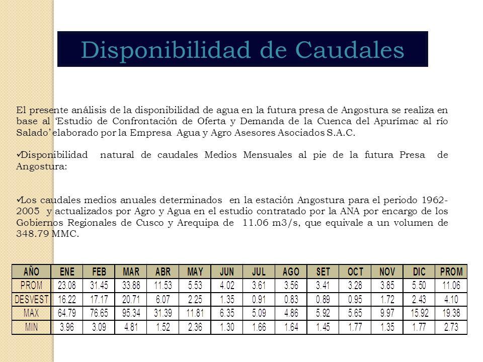 Disponibilidad de Caudales El presente análisis de la disponibilidad de agua en la futura presa de Angostura se realiza en base al Estudio de Confront
