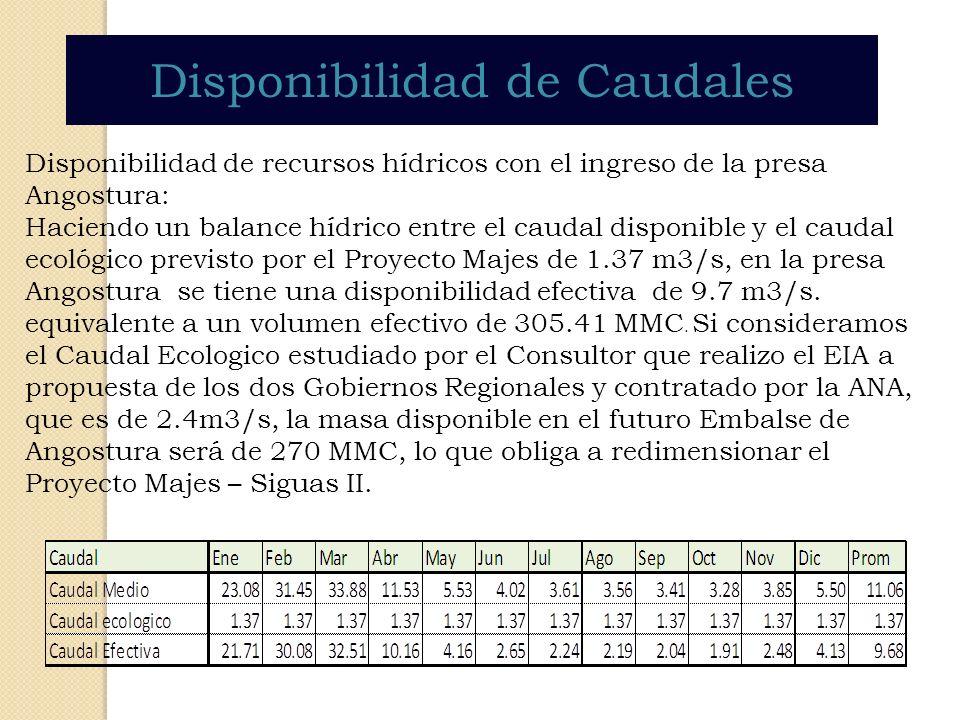 Disponibilidad de Caudales Disponibilidad de recursos hídricos con el ingreso de la presa Angostura: Haciendo un balance hídrico entre el caudal dispo