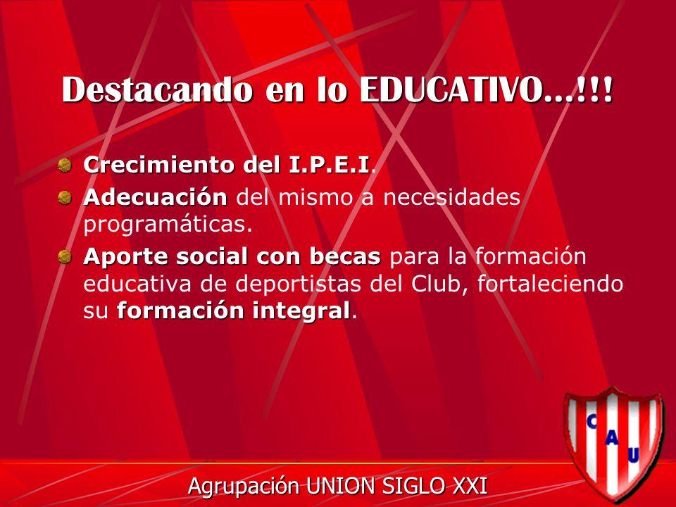 Destacando en lo EDUCATIVO...!!. Crecimiento del I.P.E.I Crecimiento del I.P.E.I.