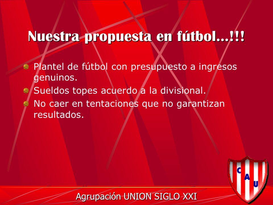Nuestra propuesta en fútbol...!!. Plantel de fútbol con presupuesto a ingresos genuinos.