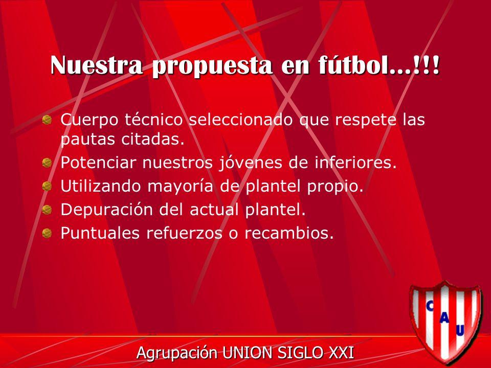 Nuestra propuesta en fútbol...!!. Cuerpo técnico seleccionado que respete las pautas citadas.