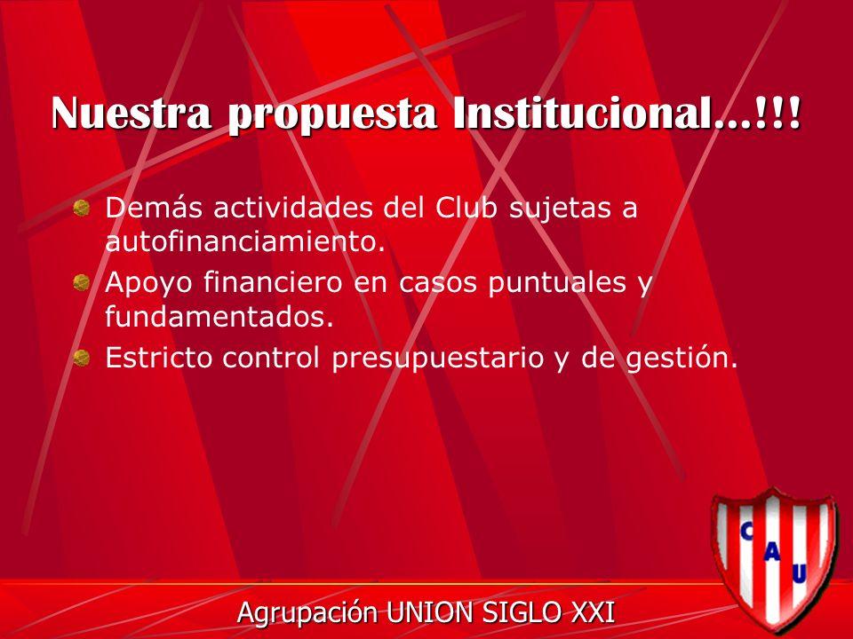 Nuestra propuesta Institucional...!!. Demás actividades del Club sujetas a autofinanciamiento.