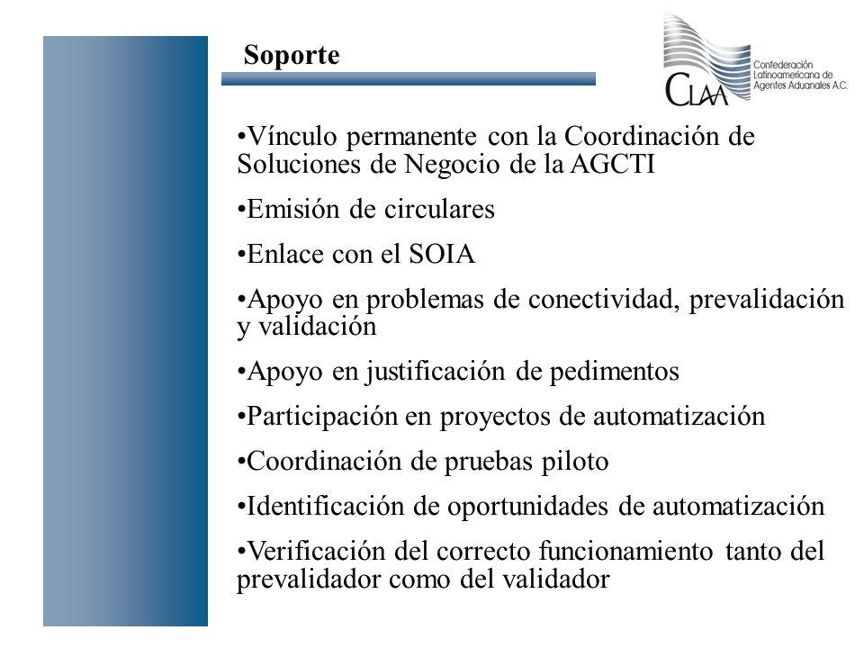 Vínculo permanente con la Coordinación de Soluciones de Negocio de la AGCTI Emisión de circulares Enlace con el SOIA Apoyo en problemas de conectivida