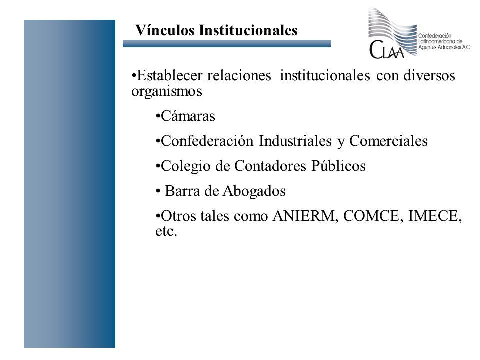 Establecer relaciones institucionales con diversos organismos Cámaras Confederación Industriales y Comerciales Colegio de Contadores Públicos Barra de