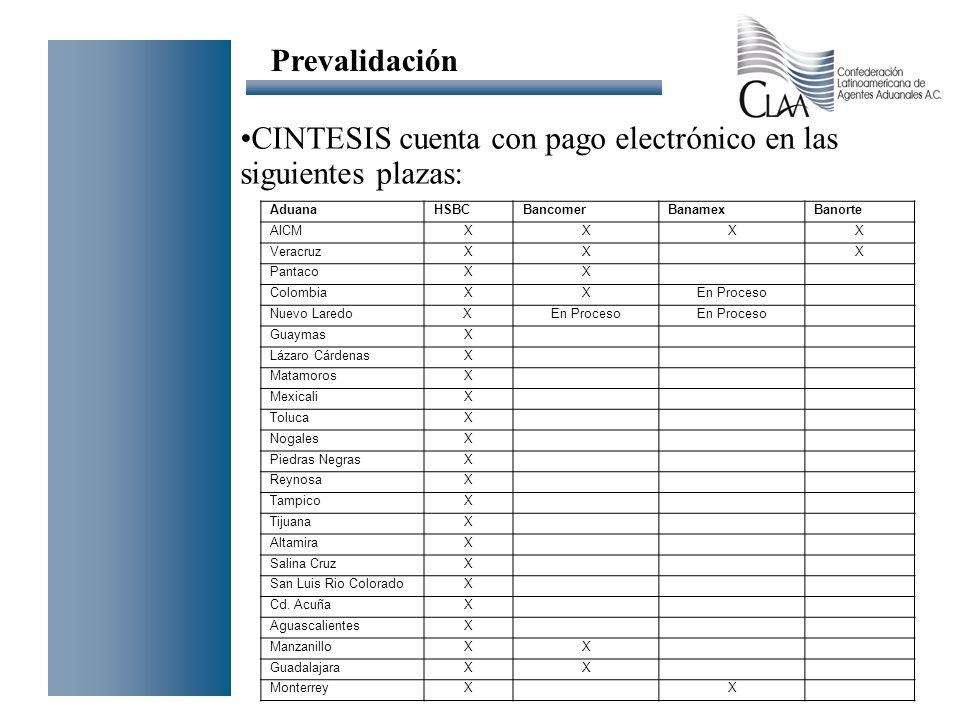 CINTESIS cuenta con pago electrónico en las siguientes plazas: Prevalidación AduanaHSBCBancomerBanamexBanorte AICMXXXX VeracruzXX X PantacoXX Colombia