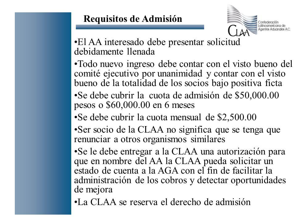 El AA interesado debe presentar solicitud debidamente llenada Todo nuevo ingreso debe contar con el visto bueno del comité ejecutivo por unanimidad y