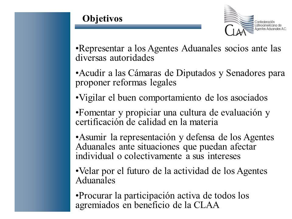 Representar a los Agentes Aduanales socios ante las diversas autoridades Acudir a las Cámaras de Diputados y Senadores para proponer reformas legales