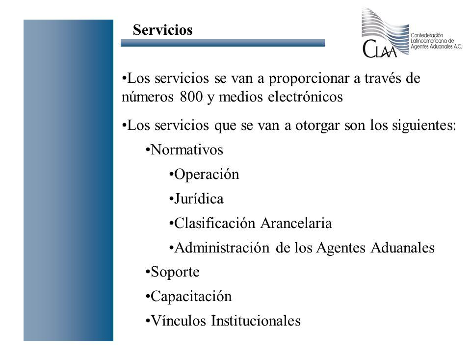 Los servicios se van a proporcionar a través de números 800 y medios electrónicos Los servicios que se van a otorgar son los siguientes: Normativos Op