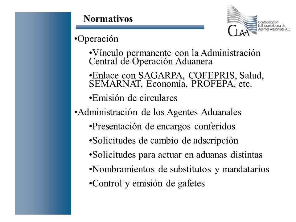 Operación Vínculo permanente con la Administración Central de Operación Aduanera Enlace con SAGARPA, COFEPRIS, Salud, SEMARNAT, Economía, PROFEPA, etc