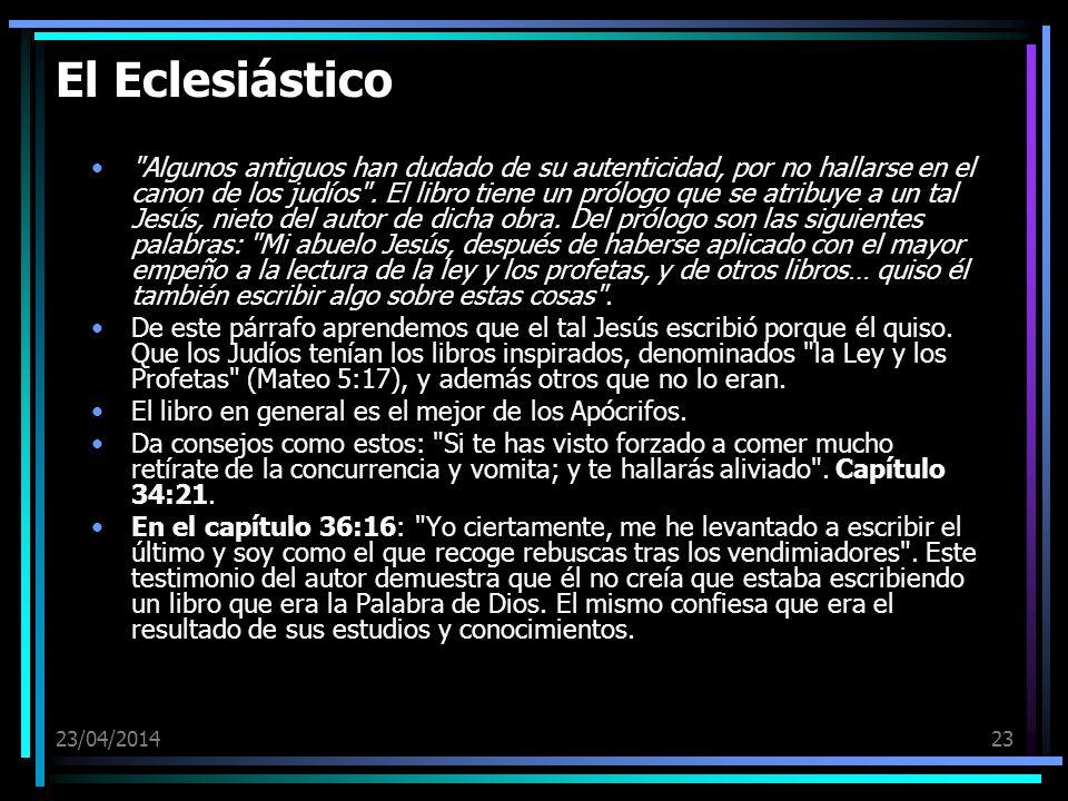 23/04/201423 El Eclesiástico