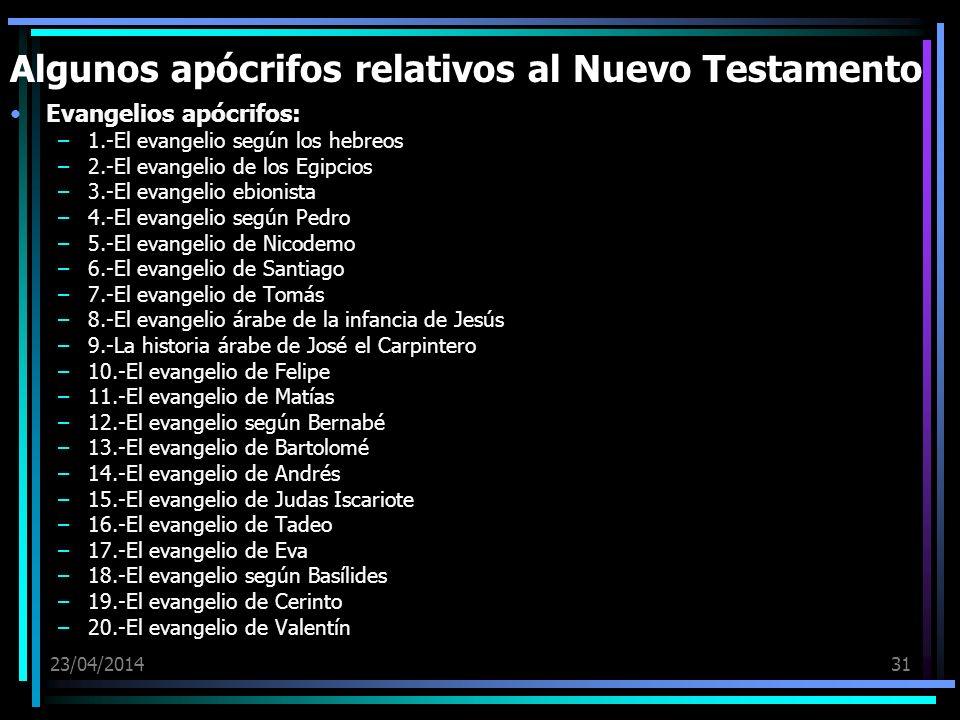 23/04/201431 Algunos apócrifos relativos al Nuevo Testamento Evangelios apócrifos: –1.-El evangelio según los hebreos –2.-El evangelio de los Egipcios