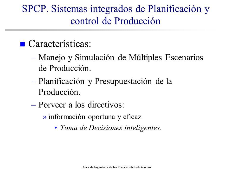 Area de Ingeniería de los Procesos de Fabricación SPCP. Sistemas integrados de Planificación y control de Producción n Características: –Manejo y Simu