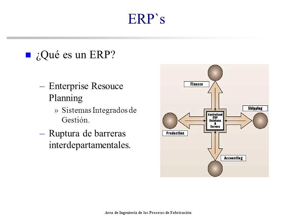 Area de Ingeniería de los Procesos de Fabricación ERP`s n ¿Qué es un ERP? –Enterprise Resouce Planning »Sistemas Integrados de Gestión. –Ruptura de ba