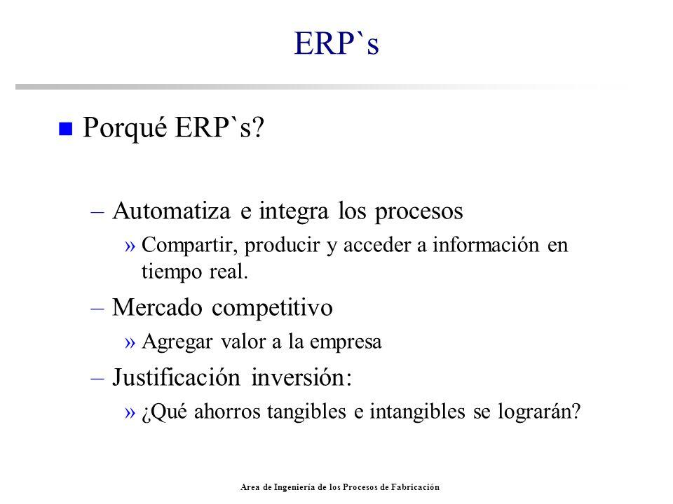 Area de Ingeniería de los Procesos de Fabricación ERP`s n Porqué ERP`s? –Automatiza e integra los procesos »Compartir, producir y acceder a informació