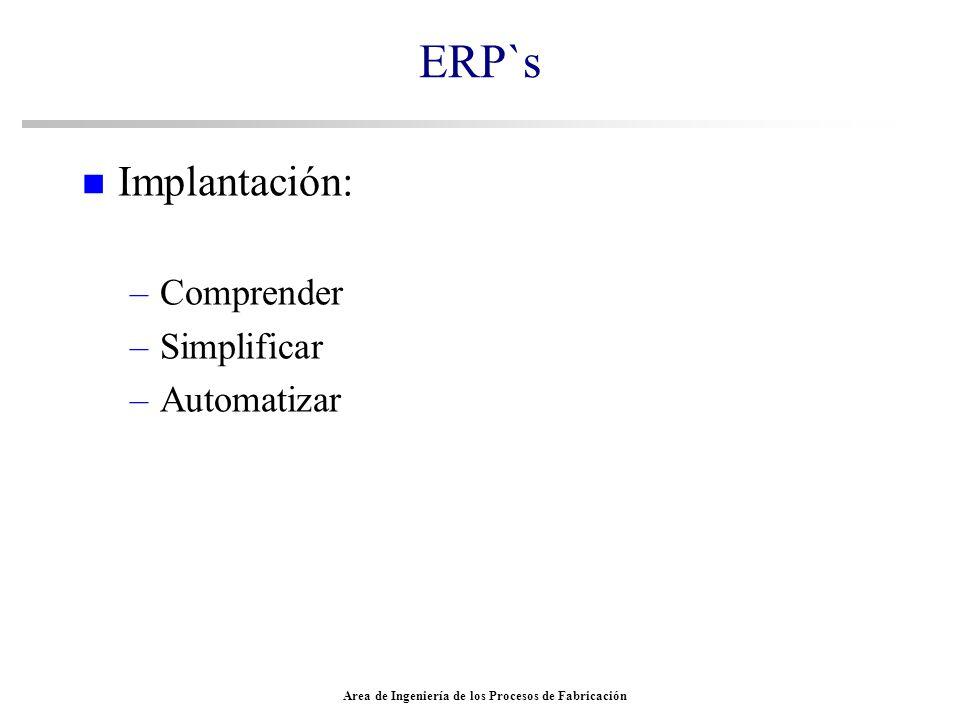 Area de Ingeniería de los Procesos de Fabricación ERP`s n Implantación: –Comprender –Simplificar –Automatizar