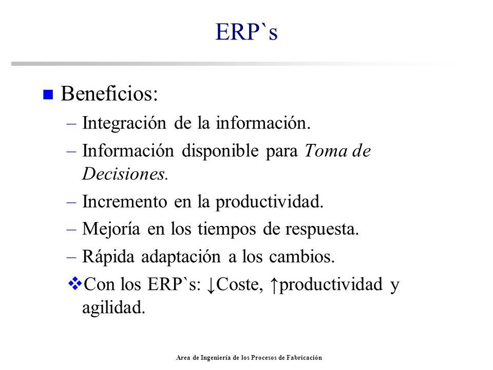 Area de Ingeniería de los Procesos de Fabricación ERP`s n Beneficios: –Integración de la información. –Información disponible para Toma de Decisiones.