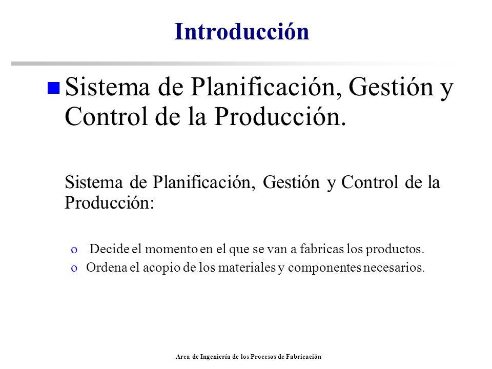 Area de Ingeniería de los Procesos de Fabricación Introducción n Sistema de Planificación, Gestión y Control de la Producción. Sistema de Planificació