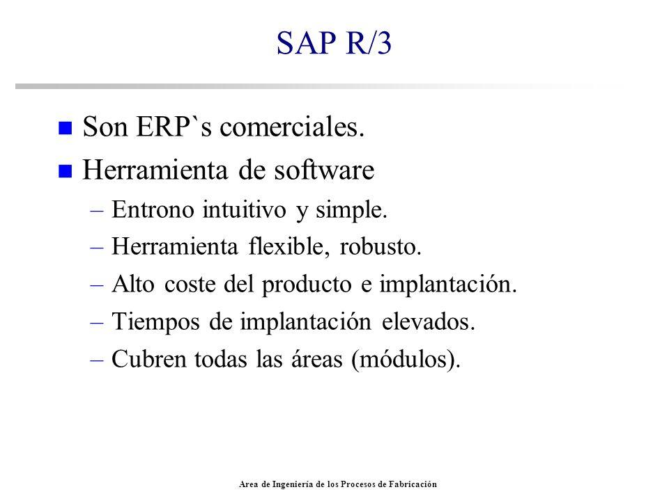 Area de Ingeniería de los Procesos de Fabricación SAP R/3 n Son ERP`s comerciales. n Herramienta de software –Entrono intuitivo y simple. –Herramienta