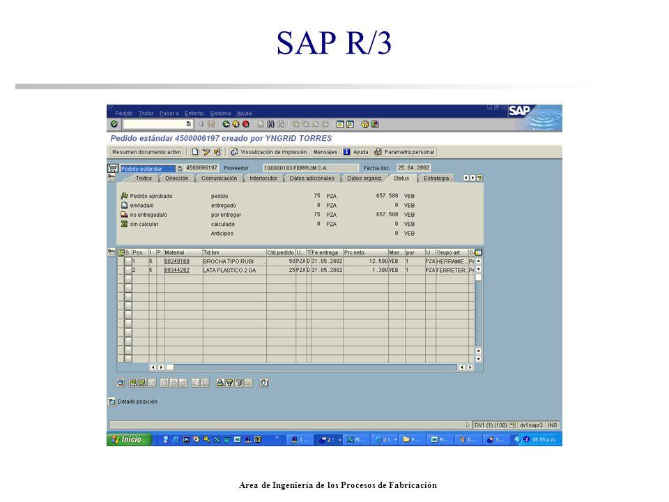 Area de Ingeniería de los Procesos de Fabricación SAP R/3