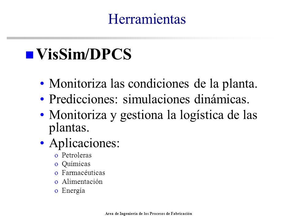 Area de Ingeniería de los Procesos de Fabricación Herramientas n VisSim/DPCS Monitoriza las condiciones de la planta. Predicciones: simulaciones dinám