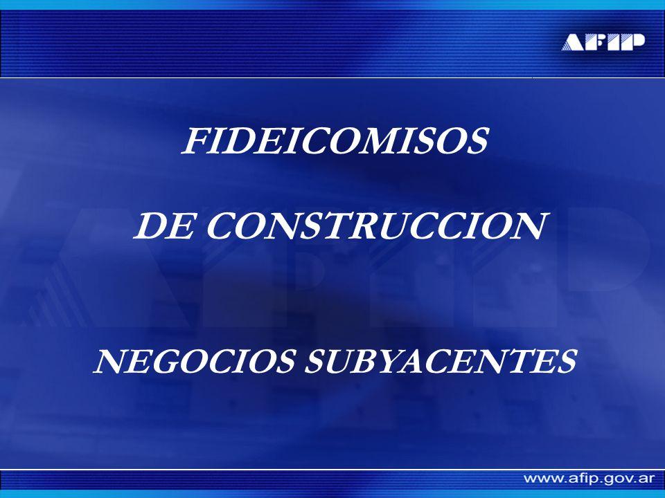 FIDEICOMISOS DE CONSTRUCCION NEGOCIOS SUBYACENTES