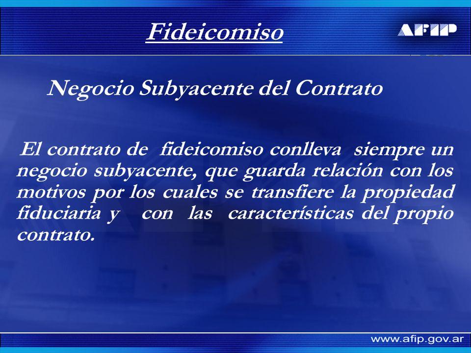 Fideicomiso Negocio Subyacente del Contrato El contrato de fideicomiso conlleva siempre un negocio subyacente, que guarda relación con los motivos por