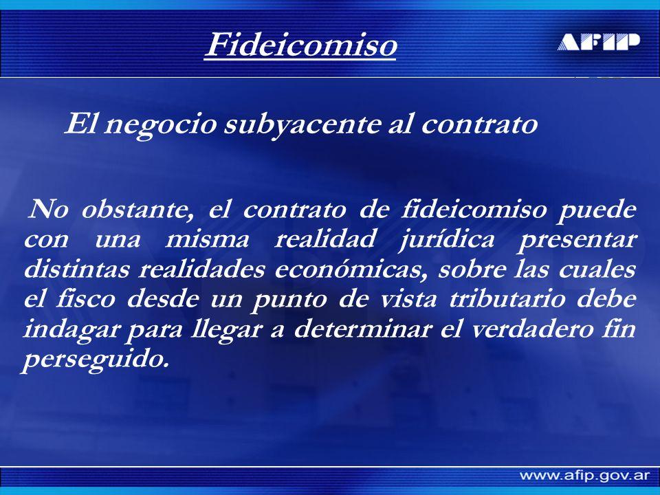 Fideicomiso El negocio subyacente al contrato No obstante, el contrato de fideicomiso puede con una misma realidad jurídica presentar distintas realid