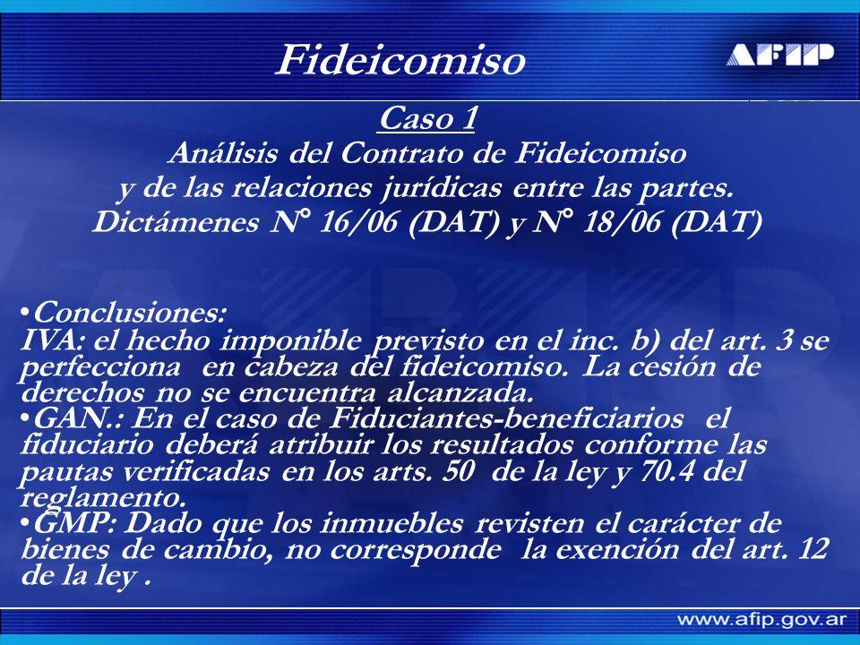 Caso 5 Onerosidad.Dictamen N° 78/08 (DAT) Fideicomiso Final de obra.