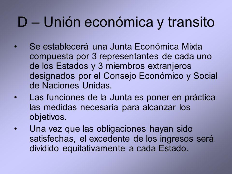 D – Unión económica y transito Se establecerá una Junta Económica Mixta compuesta por 3 representantes de cada uno de los Estados y 3 miembros extranj