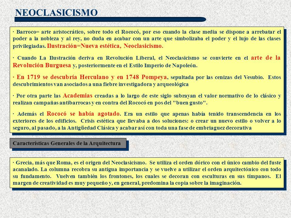 NEOCLASICISMO · Barroco= arte aristocrático, sobre todo el Rococó, por eso cuando la clase media se dispone a arrebatar el poder a la nobleza y al rey