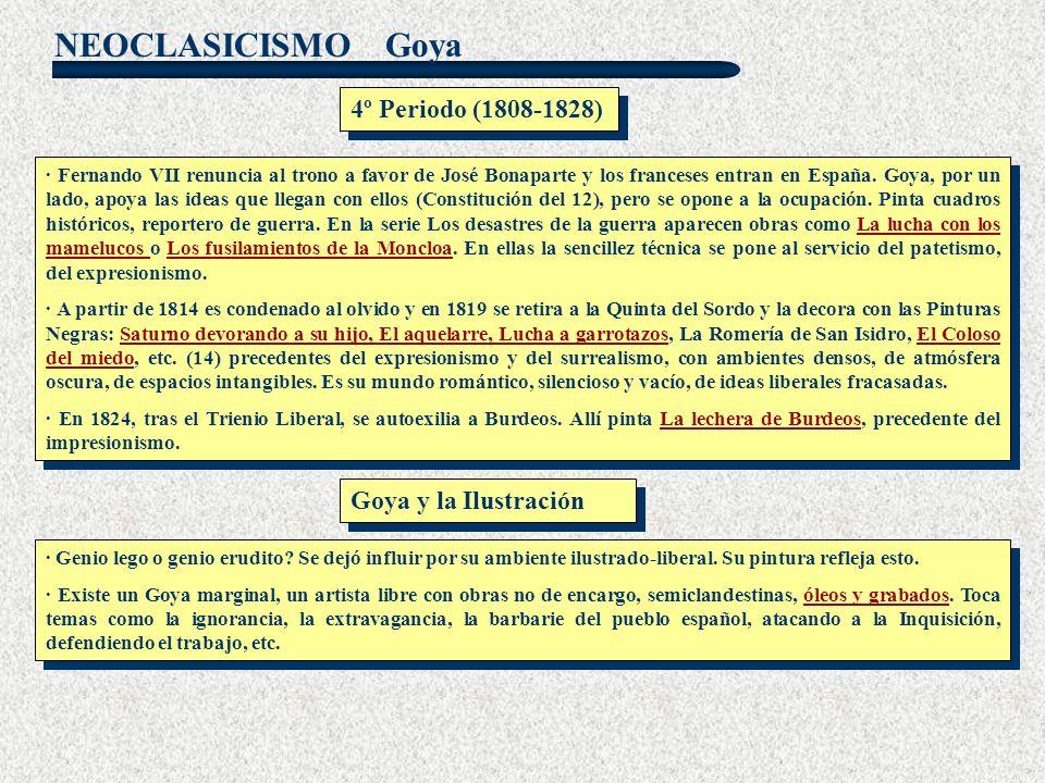 NEOCLASICISMO Goya · Fernando VII renuncia al trono a favor de José Bonaparte y los franceses entran en España. Goya, por un lado, apoya las ideas que