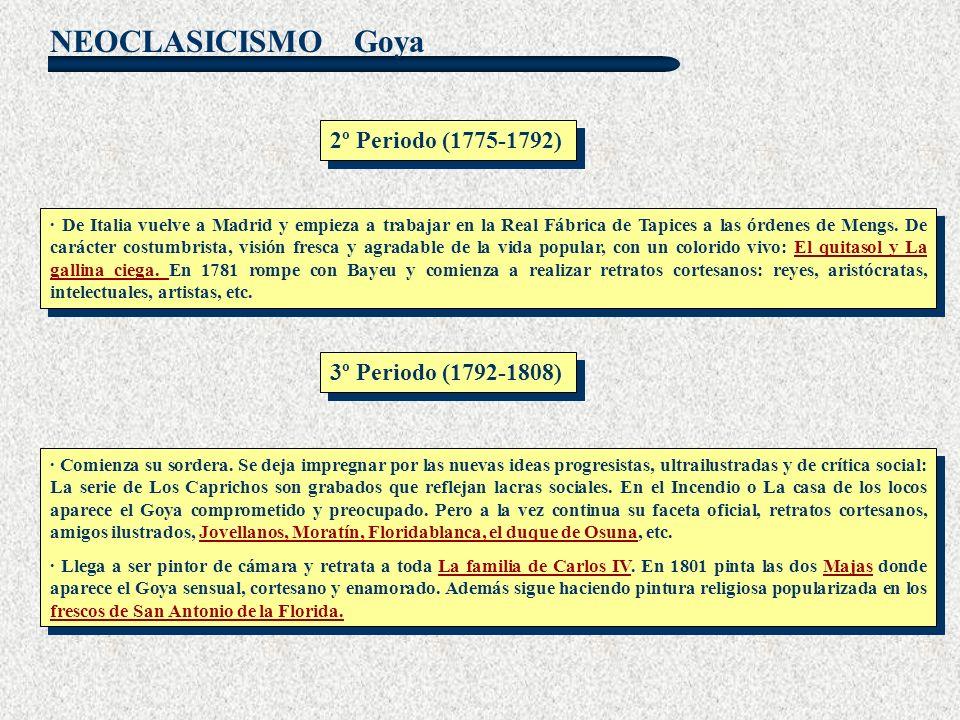 NEOCLASICISMO Goya · De Italia vuelve a Madrid y empieza a trabajar en la Real Fábrica de Tapices a las órdenes de Mengs. De carácter costumbrista, vi