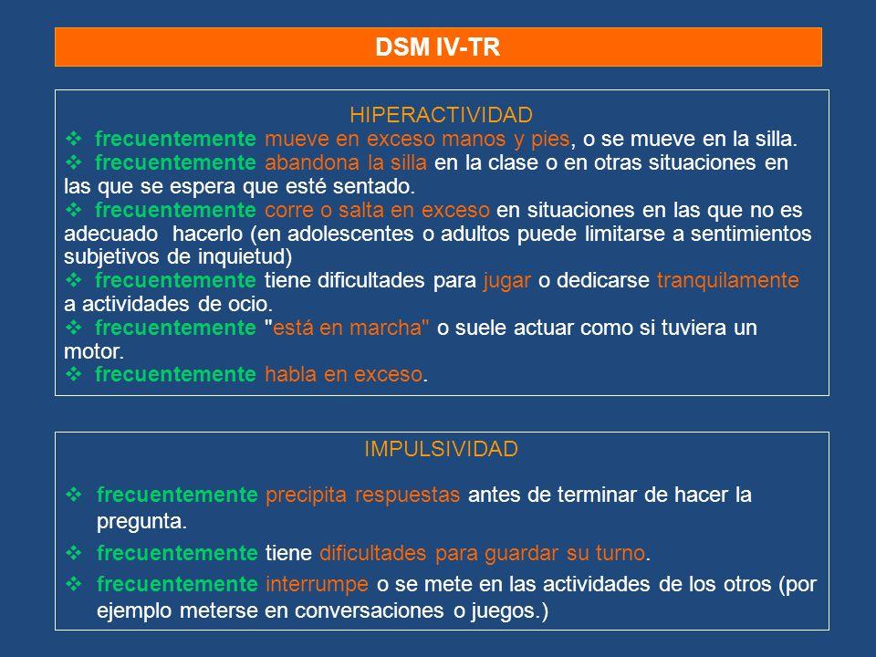 DSM IV-TR IMPULSIVIDAD frecuentemente precipita respuestas antes de terminar de hacer la pregunta. frecuentemente tiene dificultades para guardar su t