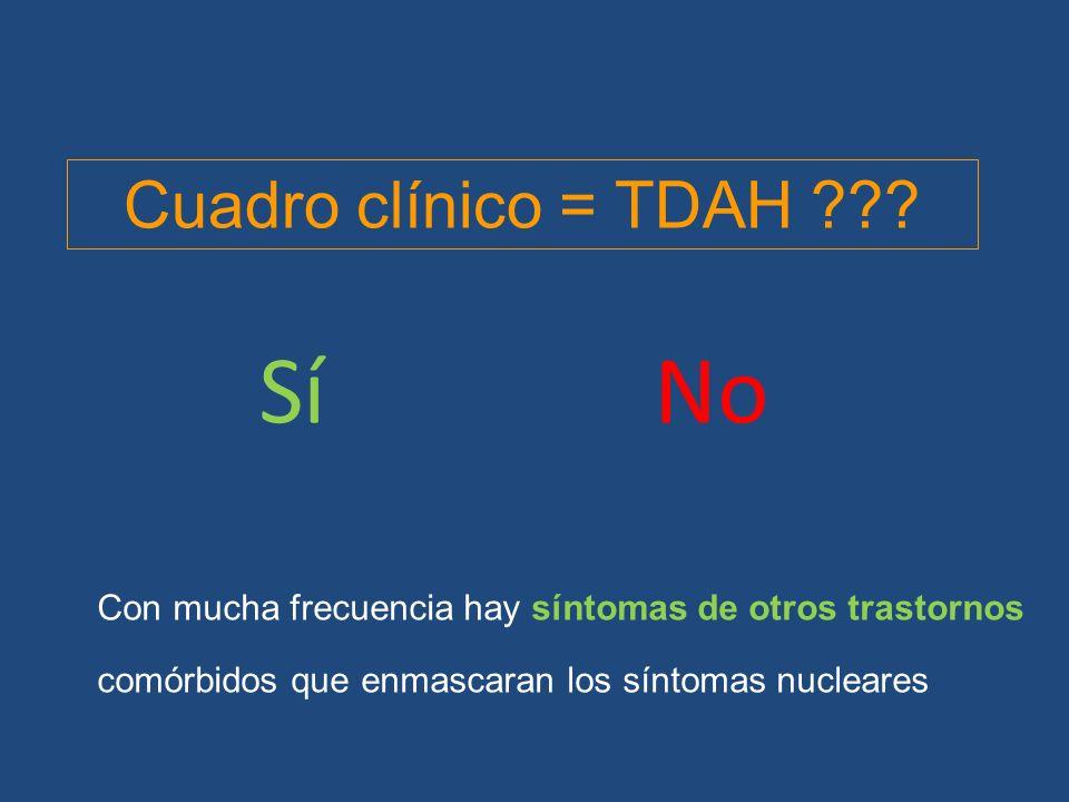 Con mucha frecuencia hay síntomas de otros trastornos comórbidos que enmascaran los síntomas nucleares SíNo Cuadro clínico = TDAH ???