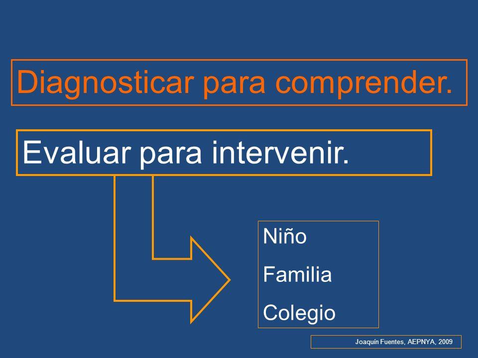 Diagnosticar para comprender. Evaluar para intervenir. Niño Familia Colegio Joaquín Fuentes, AEPNYA, 2009