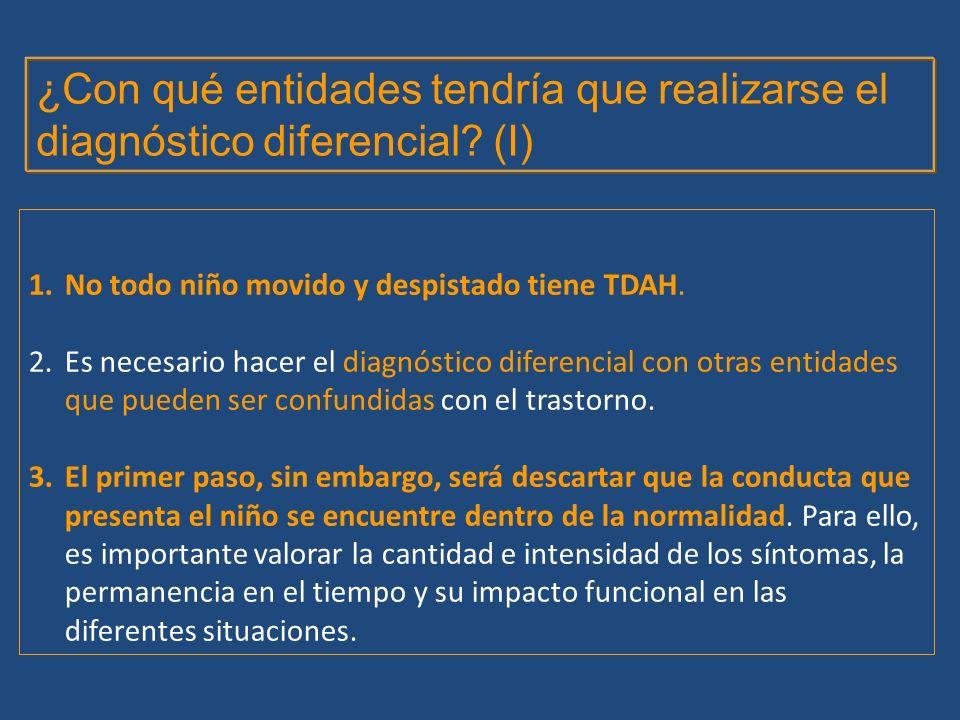 1.No todo niño movido y despistado tiene TDAH. 2.Es necesario hacer el diagnóstico diferencial con otras entidades que pueden ser confundidas con el t