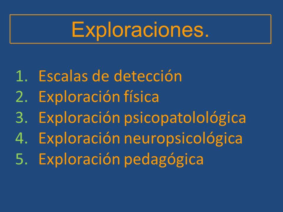 1.Escalas de detección 2.Exploración física 3.Exploración psicopatolológica 4.Exploración neuropsicológica 5.Exploración pedagógica Exploraciones.