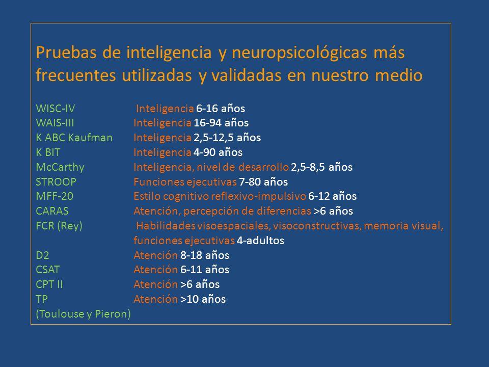 Pruebas de inteligencia y neuropsicológicas más frecuentes utilizadas y validadas en nuestro medio WISC-IV Inteligencia 6-16 años WAIS-III Inteligenci