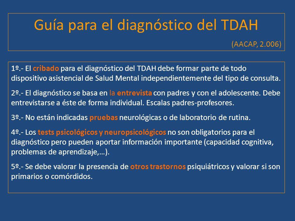 Guía para el diagnóstico del TDAH (AACAP, 2.006) 1º.- El cribado para el diagnóstico del TDAH debe formar parte de todo dispositivo asistencial de Sal