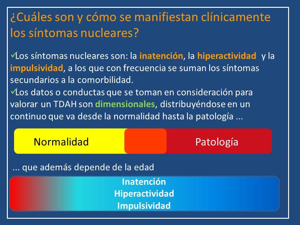 ¿Cuáles son y cómo se manifiestan clínicamente los síntomas nucleares? Los síntomas nucleares son: la inatención, la hiperactividad y la impulsividad,