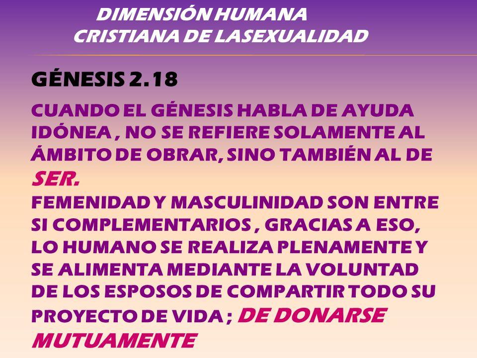 DIMENSIÓN HUMANA CRISTIANA DE LASEXUALIDAD GÉNESIS 2.18 CUANDO EL GÉNESIS HABLA DE AYUDA IDÓNEA, NO SE REFIERE SOLAMENTE AL ÁMBITO DE OBRAR, SINO TAMB
