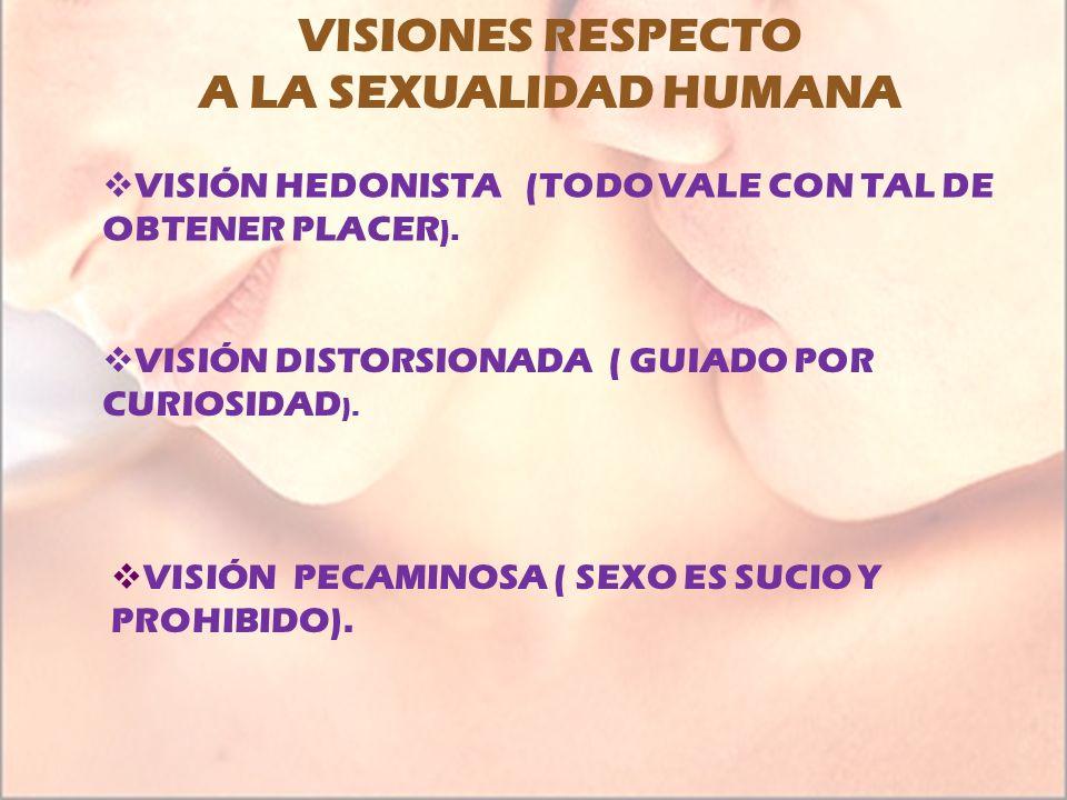 VISIONES RESPECTO A LA SEXUALIDAD HUMANA VISIÓN HEDONISTA (TODO VALE CON TAL DE OBTENER PLACER ). VISIÓN DISTORSIONADA ( GUIADO POR CURIOSIDAD ). VISI
